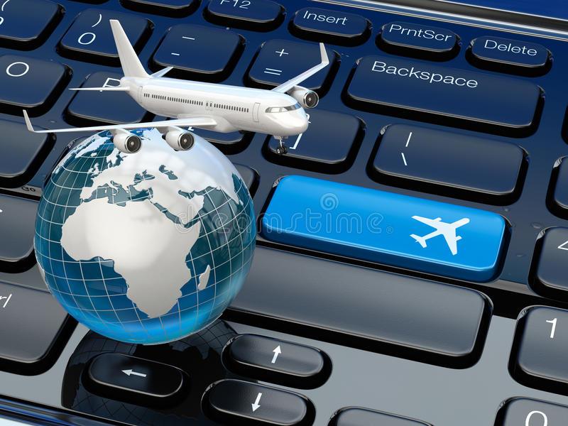 réservation-en-ligne-de-billet-avion-et-terre-sur-le-clavier-d-ordinateur-portable-43771732